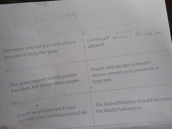 Global issues:地球規模の問題について:タイ英語プチ留学