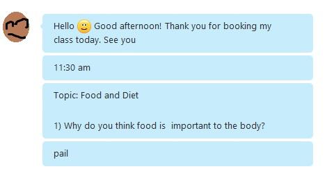 先生はfood&dietのトピックを選択、英会話をしました